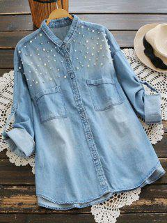 Beaded Embellished Pockets Denim Shirt - Light Blue