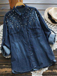 Beaded Embellished Pockets Denim Shirt - Deep Blue