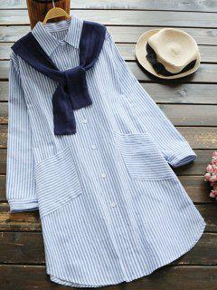 Slit Striped Shirt Dress With Removable Capelet - Light Blue
