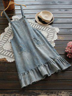 Robe Pinafore Denim Frayed Frayed Hem - Bleu Clair