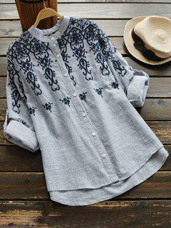 Button Up Long Sleeve Floral Blouse - Light Gray
