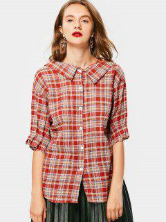 Flat Collar Button Up Checked Blouse - Checked L