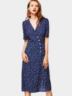 Robe Cache-Coeur à Pois à Boutons  - Bleu Violet S