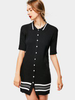 Striped Button Up Knitted Dress - Black