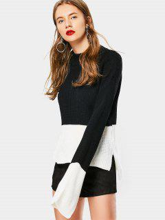 High Low Drop Shoulder Mock Neck Sweater - Black