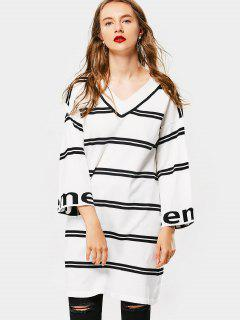 Drop Shoulder Striped Knitted Dress - White