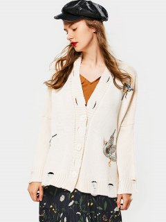 Button Up Embroidered Ripped Cardigan - Beige