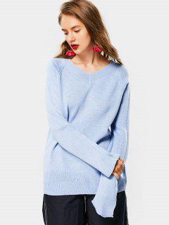 Raglan Sleeve V Neck Knit Sweater - Blue