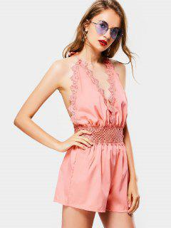 Halter Open Back Hollow Out Romper - Pink S