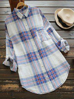 Checked Pocket Shirt Dress - Blue