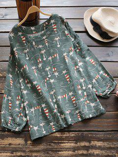 Drop Shoulder Cat Print Blouse - Army Green