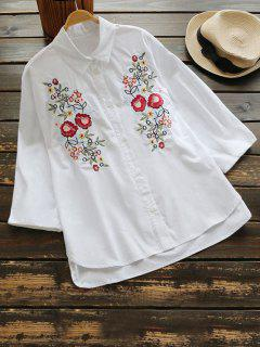 Floral Embroidery Drop Shoulder Shirt - White