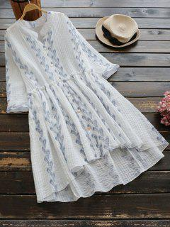 Feather Print Button Up High Low Dress - White
