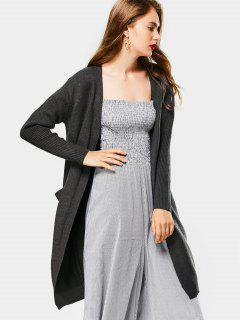 Collarless Long Knitted Cardigan - Deep Gray