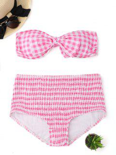 Plaid Bandeau Bikini Top With High Waisted Smocked Briefs - Pink And White S