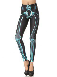 Halloween Bone 3D Print Leggings - Deep Gray Xl