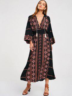 Robe Longue Imprimée à Taille Empire - Noir L