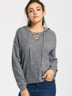 Hooded Loose Lace Up Sweater - Gris S