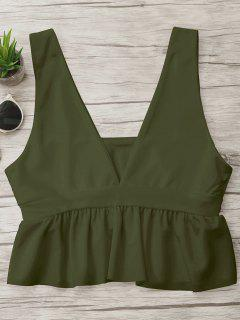 Plunge Ruffle Cropped Cover-up - Army Green M