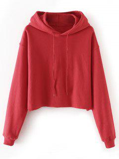 Cropped Drop Shoulder Pullover Hoodie - Red L