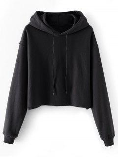 Cropped Drop Shoulder Pullover Hoodie - Black S