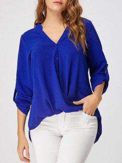 Blusa Con Cuello Alto Y Bajo En Gasa - Azul S