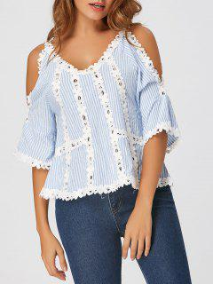 Cold Shoulder Lace Insert Striped Blouse - Cloudy L