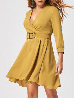 Fit Und Flare Kleid Mit Gürtel - Ingwer-gelb L