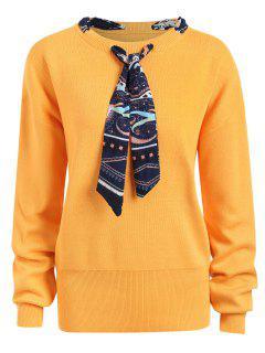 Plus Size Ribbon Embellish Sweater - Ginger 5xl