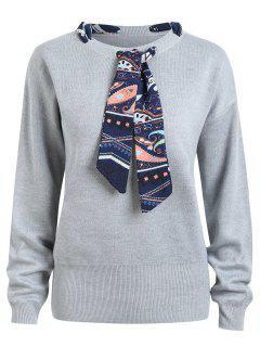 Plus Size Ribbon Embellish Sweater - Gray 2xl