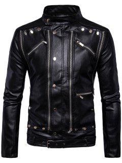 Multi Convertible Zipper Design Belted Biker Jacket - Black L