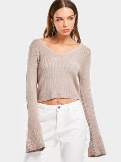 Flare Sleeve Cropped V Neck Sweater - Light Khaki