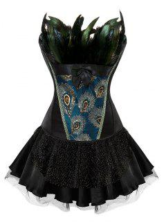 Two Piece Corset Dress With Feather - Black 2xl