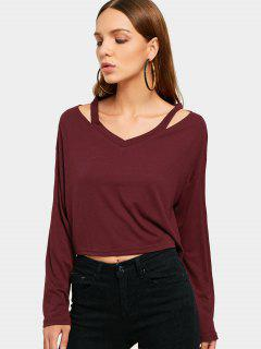 Drop Shoulder Long Sleeve Plain Tee - Wine Red