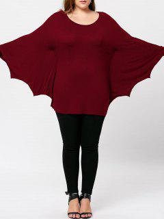 Plus Size Halloween Batwing T-shirt - Red 4xl
