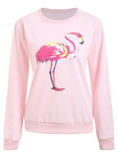 Crew Neck Flamingo Print Graphic Sweatshirt - Pink S