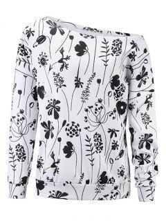 Drucken Ein Schulter Sweatshirt - Weiß 2xl