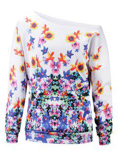 Floral One Shoulder Sweatshirt - M