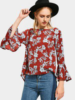 Flare Sleeve Floral High Low Blouse - Floral L