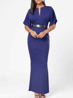 Raglan Sleeve V Neck Bodycon Maxi Dress - Bleu L