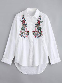 Camisa Bordada Floral Abajo Abajo Alta - Blanco M