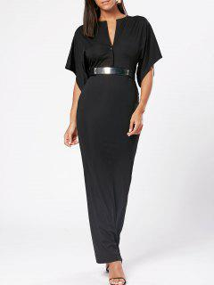 Raglan Sleeve V Neck Bodycon Maxi Dress - Black Xl