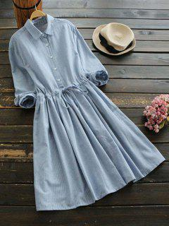 Drawstring Waist Striped Shirt Dress - Light Blue M