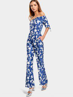 Off The Shoulder Floral Print Jumpsuit - Blue L