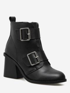 Chunky Heel Double Buckle Straps Ankle Boots - Black 36