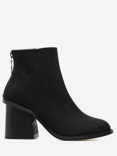 Faux Suede Block Heel Ankle Boots - Black 37