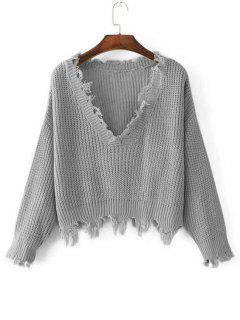 Loose Ripped V Neck Sweater - Gray