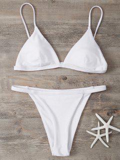 Low Waisted Spaghetti Strap Bikini Swimwear - White S