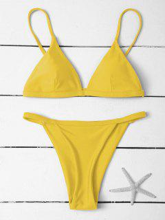 Low Waisted Spaghetti Strap Bikini Swimwear - Yellow L