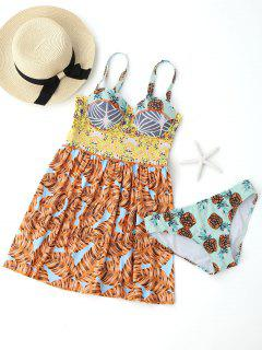 Printed Underwire Skirted Tankini Top With Briefs - M